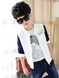 Boy's Simple Embroidery Contrast Color Long Sleeve Jacket