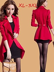 Women's Solid Red/Black Plus Size Coats & Jackets , Casual/Work Tailored Collar Long Sleeve