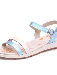 Women's Shoes Leather Flat Heel Open Toe Sandals Casual Blue
