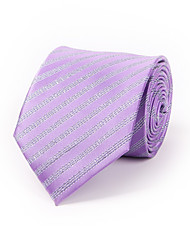 Purple Polyester Striped Tie 8.5cm(3.3in)Silver Inlaid