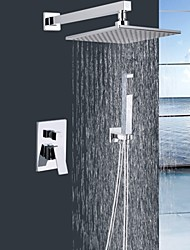 """Shengbaier® Shower Faucet Chrome Wall Mounted Double Handles Brass with 9"""" Square Shower Head and Hand Shower"""
