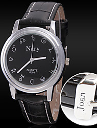 Personalized Gift Men's Casual Leather Strap Engraved Watch