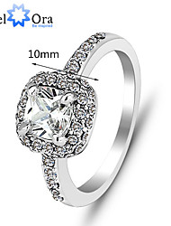 Ring Fashion Party Jewelry Cubic Zirconia / Silver Plated Women Band Rings 1pc,One Size Silver