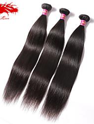Ali Queen hair products 6A Malaysian Virgin Hair Straight  Natural Black Hair 3pcs/Lot