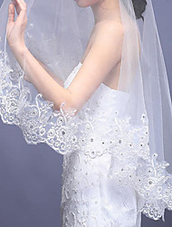 White/Ivory Bridal Wedding Veil One-tier 150CM Veils Lace Applique Edge Rhinestones