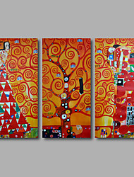 Hand-Painted Oil Painting on Canvas Gustav Klimt Museum Abstract  Life Tree Three Panel Ready to Hang