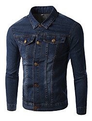 Men's Pure Long Sleeve Top , Cotton / Denim Casual