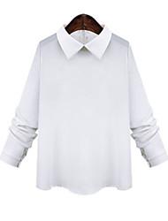 Women's Solid White Blouse , Shirt Collar Long Sleeve