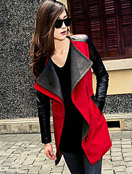 bk Women's Patchwork Blue / Red / Black Coats & Jackets , Casual Stand Long Sleeve