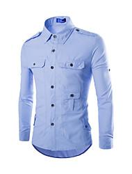 Men's Shirt Collar Casual Shirts , Cotton / Cotton Blend Long Sleeve Casual Pocket Winter / Fall NEWJOGAL