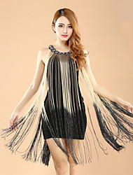 Shall We Latin Dance Dresses Women Performance Polyester / Lycra Color Block Tassel(s) 1 Pieces