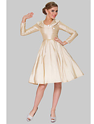 Cocktail Party Dress - Champagne Plus Sizes A-line Jewel Knee-length Taffeta