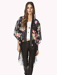 Women's Casual / Floral / Print Black Wrap , Round Neck and ¾ Sleeve Wrap