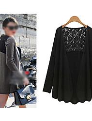 CEN     Women's Lace Black / Gray Coats & Jackets , Casual Asymmetrical Long Sleeve