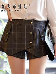 Mulheres Calças Casual/Trabalho Shorts Elastano/Poliéster Micro-Elástica Mulheres