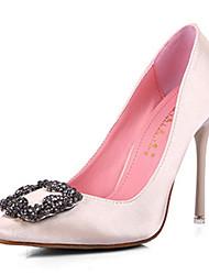 Women's Shoes Silk Stiletto Heel Heels / New Fashion Bigger Sizes Diamond Buckles Low Help Ms Silks And Satins Stilettos