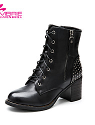 Women's Shoes Leatherette Chunky Heel Riding Boots/Fashion Boots/Bootie/Combat Boots Boots Office & Career/Casual