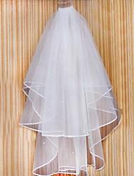 Bride Wedding Dress Veil Two-tier Fingertip Veils Ribbon Bead Edge Comb