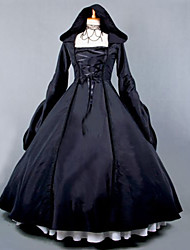 One-Piece Gothic Lolita Steampunk® / Vintage/Victorian Hooded Dress Halloween Costume Cosplay Lolita Dress Black Vintage Long Length Dress For Women