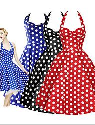 Women's Polka Dot Blue / Red / Black Dresses , Party Straps Sleeveless