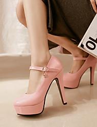 Chaussures Femme - Habillé - Noir / Rose / Beige - Gros Talon - Talons / Bout Arrondi - Talons - Cuir Verni