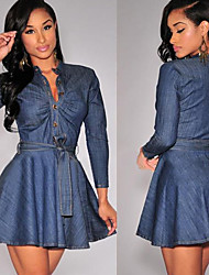 MOCO Women's Solid Blue Dresses , Sexy / Party Shirt Collar Long Sleeve
