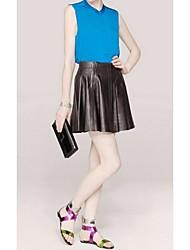 Women's Spring Summer Fall Fleece Leatherette Office & Career Party & Evening Dress Flat Heel Multi-color