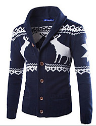 Wave Men's V-Neck Coats & Jackets , Cotton Blend Long Sleeve Casual Pocket Fall