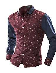 Men's Casual/Daily Chinoiserie Shirt,Plaid Classic Collar Long Sleeve Cotton