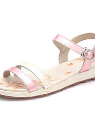Women's Shoes Leather Flat Heel Open Toe Sandals Casual Pink