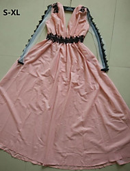 Women's Sexy Plus Sizes Pink Maxi Dress