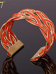 U7® Women's 18K Gold Plated Puzzle Bracelet Vivifying Love Symbol Red/Blue Synthetic Coral Beads Sanative Cuff Bracelet