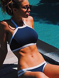Women's Bikinis , Color Block / Bandage Push-up Nylon Blue / Black