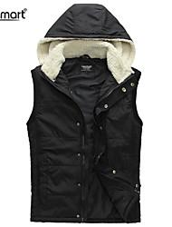 Lesmart Men's Autumn and Winter Cashmere Hooded Cotton Vest Jacket Stitching Slim