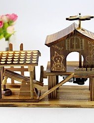 Retro Pastoral Wooden Music Box Creative Life Personality Decorative Ornaments Gifts (Random Music)