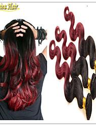 3pcs / lot 8a ola ombre pelo extensiones 3pcs visón virginal brasileña del cuerpo del pelo brasileño 1b / 99j roja armadura del pelo ombre