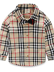 Kid's Plaid Cotton Casual  Long Sleeve T-Shirt Lapel Shirt