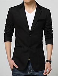 Men's Long Sleeve Regular Blazer , Cotton / Spandex Pure