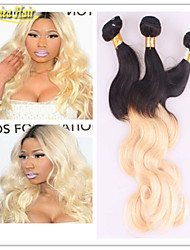 Dark Root Colored Ombre Two Tone Body Wave Hair Weaving Weft Extension 1B/613 Dark Root Ombre Human Hair Weave
