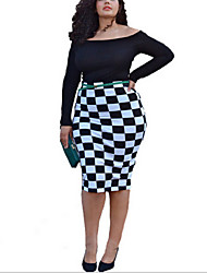 Women's Polyester/Spandex Collar Classic Black and White Plaid Printed Midi Dress