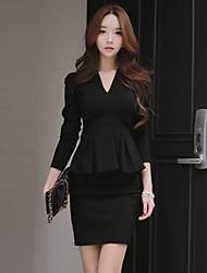 Women's Solid White / Black Dresses , Casual / Work V-Neck Long Sleeve