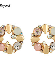 D Exceed  Round Stud Diamond Earrings Gold Stud Earring for Women 2015 Winter Fashion Design Jewelry