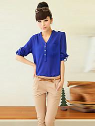 Women's Solid Blue / White / Black Blouse , V Neck Long Sleeve
