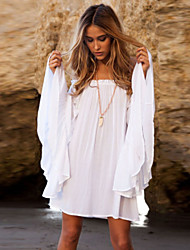 Women's Holiday Loose Dress,Solid Boat Neck Mini Long Sleeve White Fall