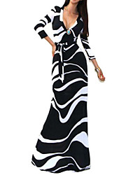 Women's Party / Maxi Print A Line Dress , V Neck Maxi Polyester
