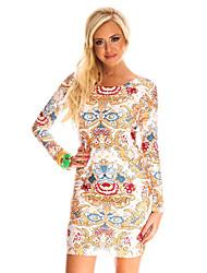 Women Bandage Dress Floral Print O-Neck Long Sleeve Celebrity Bodycon Party Dress