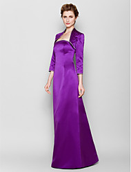 Lanting Bride® Sheath / Column Plus Size / Petite Mother of the Bride Dress Floor-length 3/4 Length Sleeve Satin with