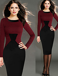 Women's Plaid / Patchwork Red Dresses , Bodycon Round Long Sleeve