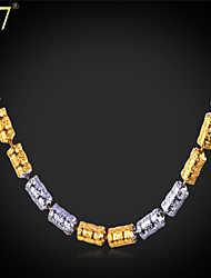 """U7® Men's Two Tone Gold Chain Vogue """"18K"""" Stamp Gold/Platinum Plated 62 CM/24'' Long Link Bar Chain Necklace"""