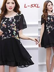Women's Print Multi-color Plus Size Dresses , Cute/Work Round Short Sleeve